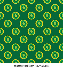 African print circles green and yellow