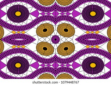African Print fabric, Ethnic handmade ornament for your design, Ethnic and tribal motifs geometric elements. Vector texture, afro textile Ankara fashion style