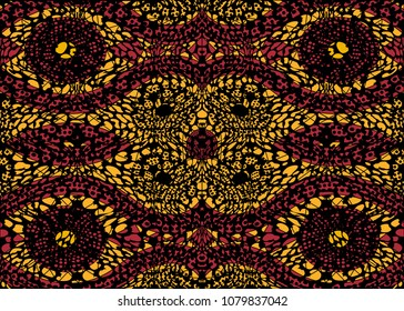 African Print fabric, Ethnic handmade ornament for your design, Ethnic and tribal motifs geometric elements. Vector texture, afro textile Ankara fashion style. Pareo wrap dress, batik, african carpet
