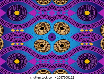 African Print fabric, Ethnic handmade ornament for your design, Ethnic and tribal motifs geometric elements. Vector texture, afro textile Ankara fashion style. Pareo wrap dress, batik style