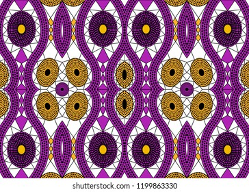 African Print fabric, Ethnic handmade ornament for your design, Ethnic and tribal motifs geometric elements. Vector texture, afro textile Ankara fashion style. Pareo wrap dress, colorful batik carpet
