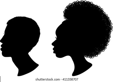 African Profile Silhouettes - Vector Illustration