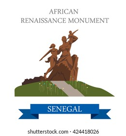 African Renaissance Monument in Dakar in Senegal. Flat cartoon style historic sight showplace attraction web site vector illustration. World cities vacation travel sightseeing Africa collection.