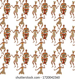African ritual dance. Man plays a traditional drum, women dance. Seamless background pattern. Vector illustration