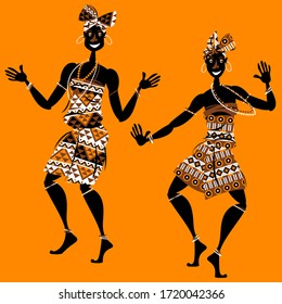 African ritual dance. Two dancing women in traditional costumes. Vector illustration