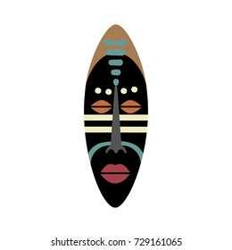 African ritual mask. Flat vector illustration in bright colors.