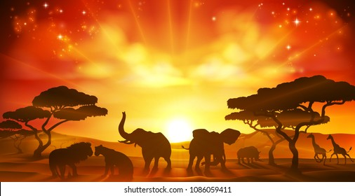 An African safari animal savannah silhouette sunset background landscape scene