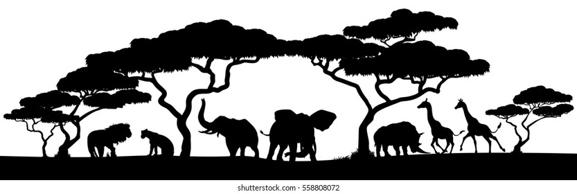 An African safari animal silhouette landscape scene