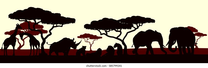 An African safari animal silhouette scene landscape