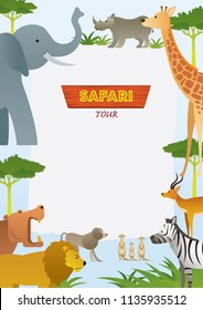 African Safari Animals Frame, Cute Animals, Nature and Wildlife