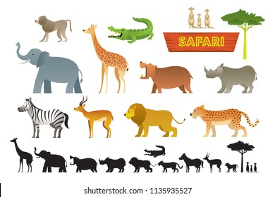 African Safari Animals Set, Cute Animals, Nature and Wildlife