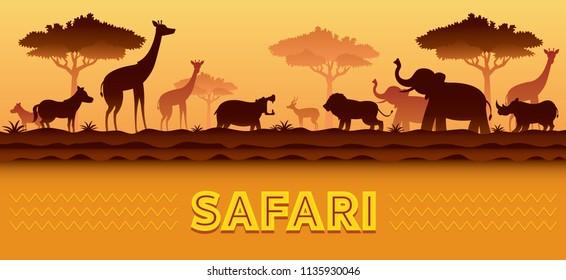 African Safari Animals Silhouette Background, Sunset or Sunrise, Nature Landscape