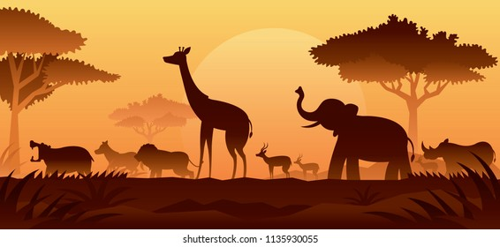 African Safari Animals Silhouette Background, Sunset or Sunrise, Nature Landscape