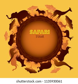 African Safari Animals Silhouette Round Frame, Sunset or Sunrise, Nature Landscape