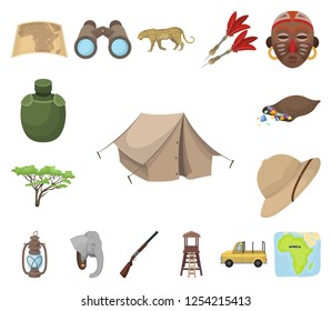 2c64b4e265e African Safari cartoon icons in set collection for design. Trophies and  equipment for Safari vector