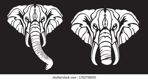 African safari elephant logo vector illustration.