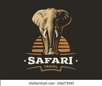 African safari elephant logo - vector illustration, emblem design on dark background.