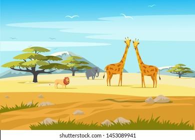 African safari flat vector banner concept. Tropical tourism, exotic recreation poster. Wilderness, savannah exploration illustration