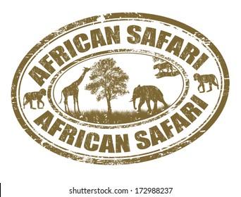 African safari grunge rubber stamp on white, vector illustration