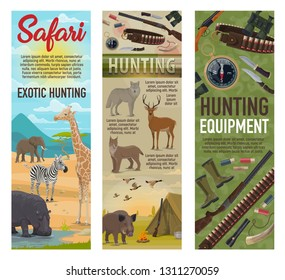 African Safari hunting, forest hunt and savanna animals trophy with hunter ammo. Vector elephant, zebra or giraffe and hippopotamus, traps and carbine rifle guns, wold or deer and boar with ducks