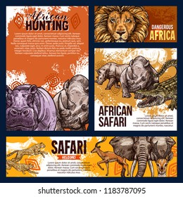 African safari hunting sketch banners and posters for open season or hunt adventure. Vector wild animals in Africa savanna lion, elephant or crocodile and gazelle with rhinoceros