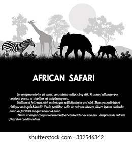 African Safari poster. Wild animals silhouettes on white with space for your text, vector illustration