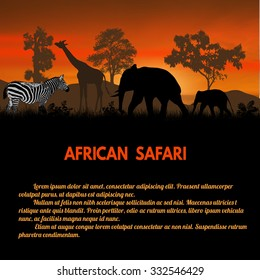 African Safari poster. Wild animals silhouettes on sunset with space for your text, vector illustration