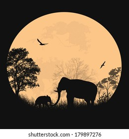 African safari theme with elephants in front of full moon on beautiful place, vecto illustration