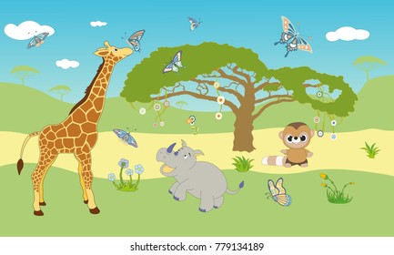 African safari  themed green happy wallpaper for kids room, high quality vector objects