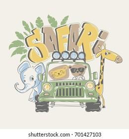 African safari tour with animals, vector illustration.