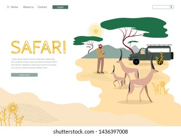 African Safari Tour Landing Page Vector Template. Africa Wildlife and Nature Exploration Website Homepage Flat Layout. Savannah Expedition, Road Trip. Tourist Photographing Antelopes Illustration