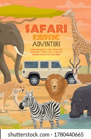 African safari, vector hunting sport and animals. Lion, elephant and antelope, hippo, giraffe and zebra, cheetah or leopard animals and hunter car, African safari tour and savannah adventure themes