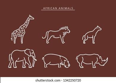 African savanna animals set outline icon. Elephant, giraffe, hippo, rhinoceros, lion,  hyena outline vector icon. Vector illustration african safari animals outline illustration.