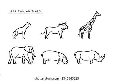 African savanna animals set outline icon. Elephant, giraffe, hippo, rhinoceros, lion,  hyena outline vector icon. Vector illustration african safari animals outline illustration.