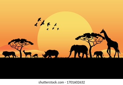 African savanna at sunset. Silhouettes of animals and plants. Realistic vector landscape. The nature of Africa. Reserves and national parks.