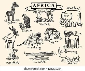 African savannah animal set