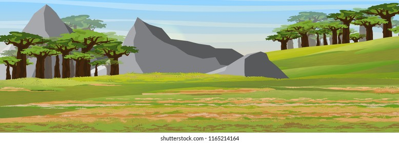African savannah, baobab thickets and high mountain ranges. Realistic vector landscape. The nature of Africa