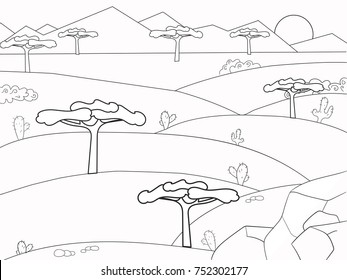 African Savannah Coloring Book Background Nature Desert Vector Pages