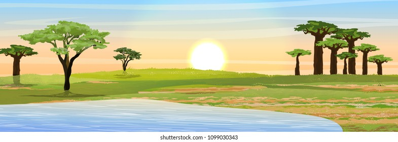African savannah. Grass, acacia and baobab trees and lake. Realistic vector landscape. The nature of Africa. Reserves and national parks.
