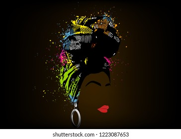 African scarf, portrait Afro woman in a striped turban. Tribal Wrap fashion, Ankara, Kente, kitenge dresses. Nigerian style, Ghanaian headwrap colorful splatter vector for Print, poster, t-shirt, card