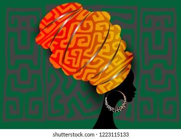 African scarf, portrait Afro woman in a striped turban. Tribal Wrap fashion, Ankara, Kente, kitenge. Nigerian style dresses. Ghanaian headwrap. African Print fabric, Ethnic handmade textile background