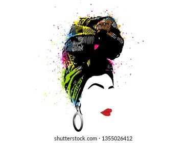 African scarf, portrait Afro woman in a striped turban. Tribal Wrap fashion, Ankara, Kente, kitenge, African women dresses. Nigerian style, Ghanaian headwrap. Vector for Print, poster, t-shirt, card
