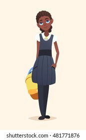 African school girl with a backpack in hand. Illustration of a cartoon character. Vector flat design.