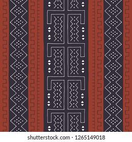 African seamless pattern. Traditional mud cloth, bogolan. Geometric design.