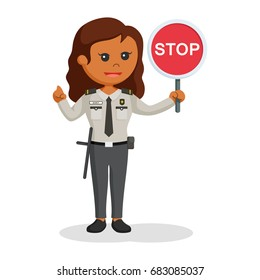 african security office woman with stop sign