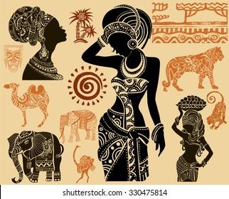 African Set.African masks. African animals