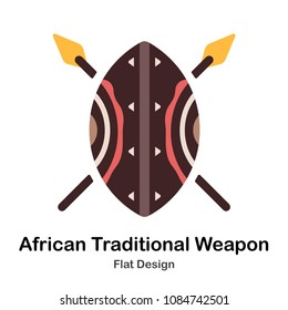 African shield and spears flat illustration