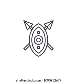 African shield spears linear icon concept. African shield spears line vector sign, symbol, illustration.