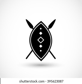 African shield with spears vector