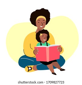 African Smiling Family. Mother and Daughter Reading Book Together.Young Adult Parent.Baby,Girl, Woman,Child Kid.Caring Mom,Nanny or Babysitter. Relatives Having Fun.  Flat Vector Illustration